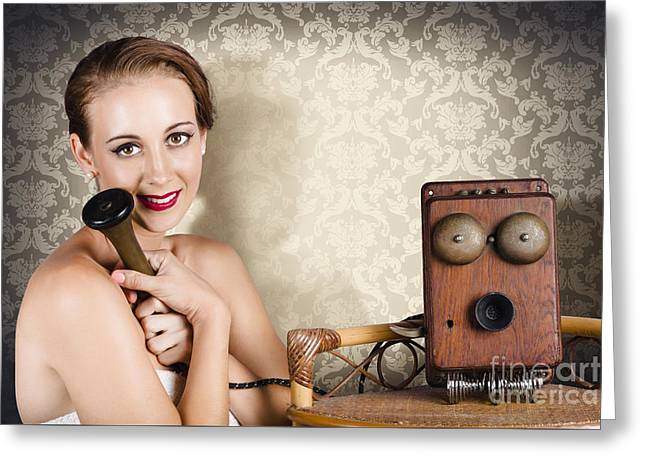 Woman In Vintage Daydream With Operator Phone Greeting Card by Jorgo Photography - Wall Art Gallery