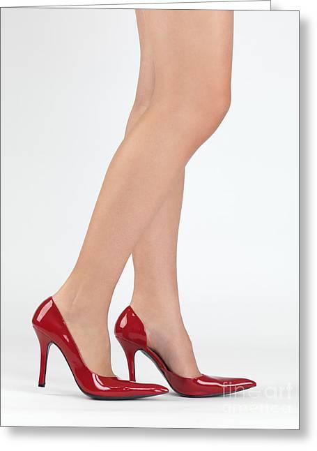Woman Legs In High Heel Shoes Greeting Card by Oleksiy Maksymenko