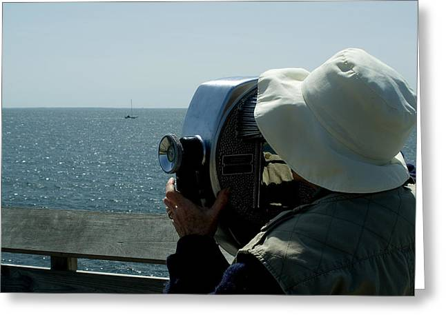 Groton Greeting Cards - Woman Looking At Long Island Sound Greeting Card by Todd Gipstein