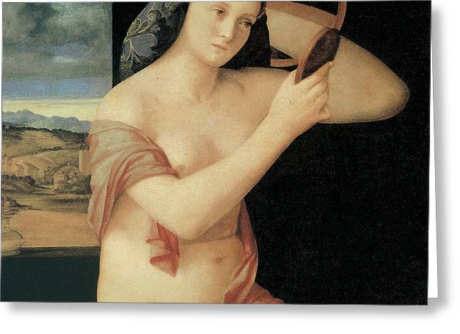 Looking In Greeting Cards - Woman Looking in the Mirror 1515 Greeting Card by Giovanni Bellini