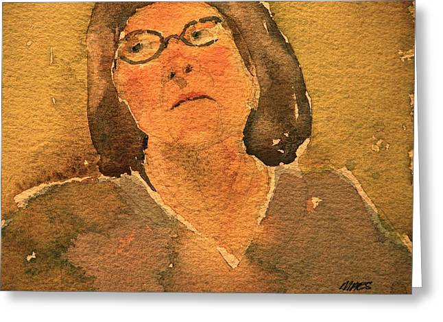 Lost In Thought Paintings Greeting Cards - Woman Lost In Thought Greeting Card by Walt Maes