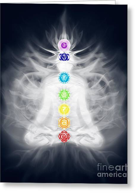 Woman Meditating In Lotus Pose Silhouette With Chakras And Energ Greeting Card by Oleksiy Maksymenko