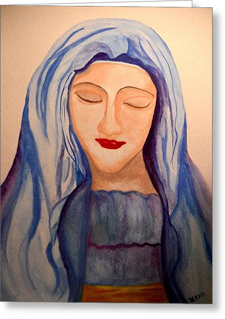 Spiritual Portrait Of Woman Greeting Cards - Woman of Faith Greeting Card by Maria Urso