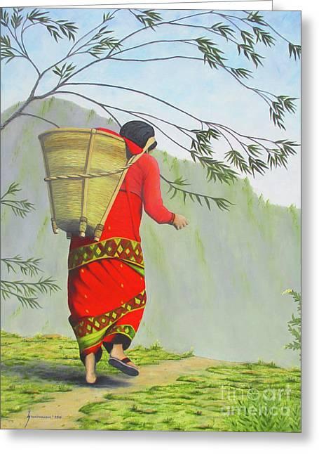 Woman Of Nepal Greeting Card by Jerome Stumphauzer