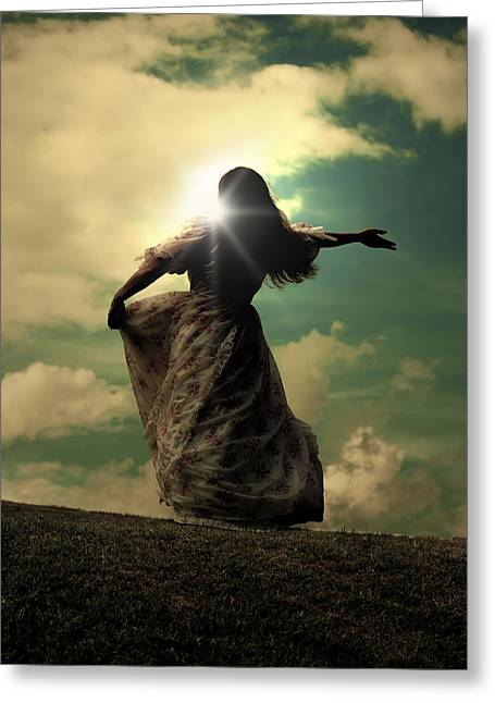 Bleak Greeting Cards - Woman On A Meadow Greeting Card by Joana Kruse