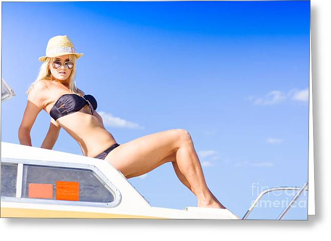 Suntanning Greeting Cards - Woman On Boat Greeting Card by Ryan Jorgensen