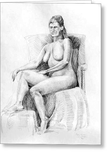 Inner World Drawings Greeting Cards - Woman on Chair Greeting Card by Mark Johnson