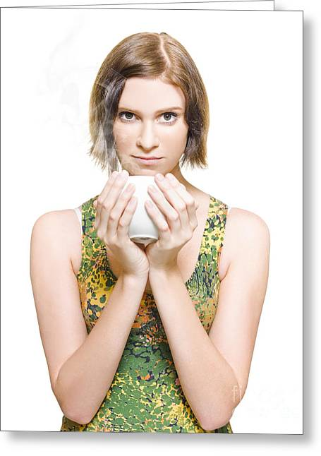 Good Looking Greeting Cards - Woman On Coffee Break Greeting Card by Ryan Jorgensen