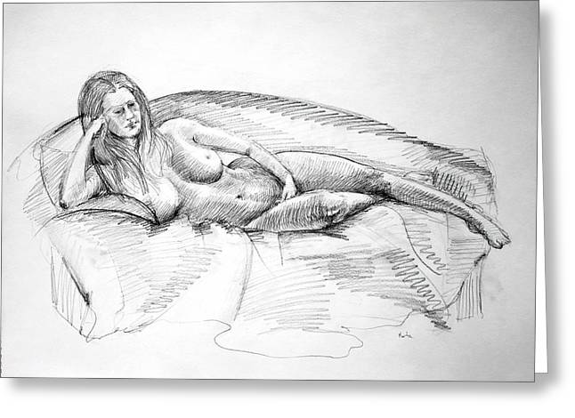 Woman On Couch Greeting Card by Mark Johnson