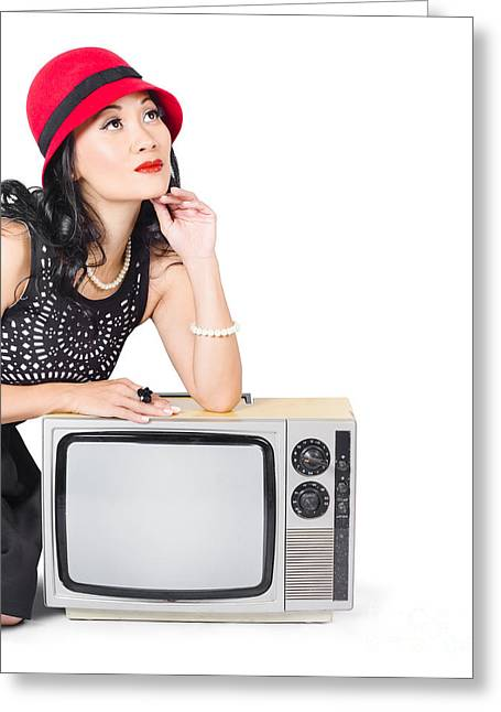 1950s Portraits Greeting Cards - Woman on retro TV. Fifties copyspace broadcast Greeting Card by Ryan Jorgensen
