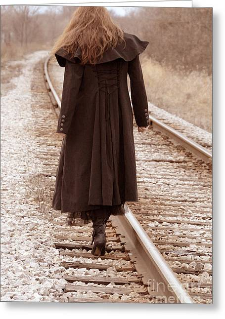 Clenched Fist Greeting Cards - Woman on Tracks Greeting Card by Jill Battaglia