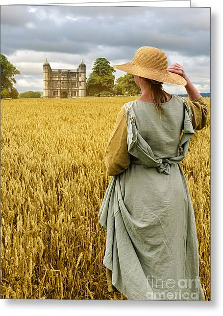Cornfield Greeting Cards - Woman Overlooking Wheat Field Greeting Card by Amanda And Christopher Elwell