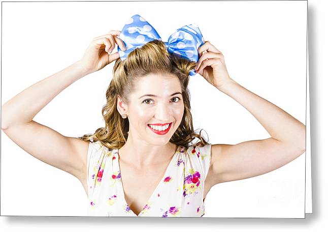 Youthful Greeting Cards - Woman playing with hair tie. Retro accessories Greeting Card by Ryan Jorgensen
