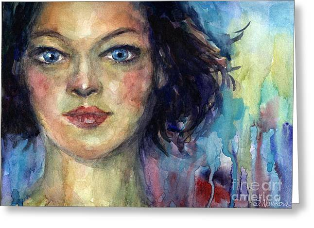 Custom Portrait Greeting Cards - Woman  portrait 2 Greeting Card by Svetlana Novikova