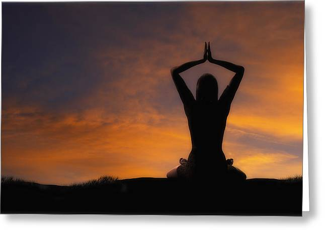 Empower Greeting Cards - Woman Practicing Yoga Greeting Card by Utah Images