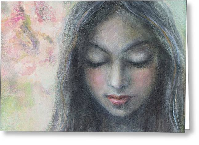 Realistic Mixed Media Greeting Cards - Woman praying meditation painting print Greeting Card by Svetlana Novikova