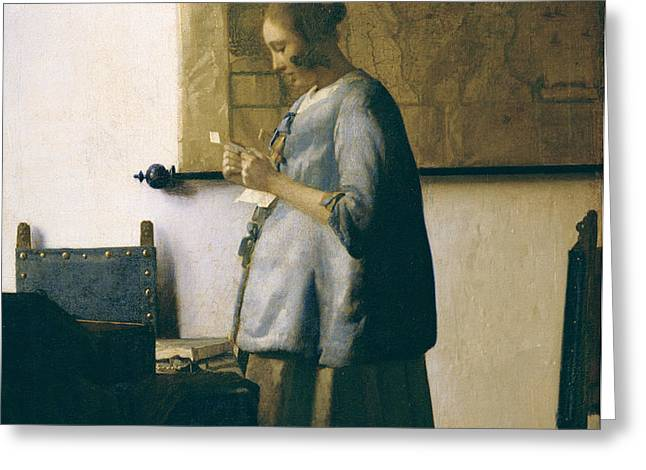 Woman Reading a Letter Greeting Card by Jan Vermeer