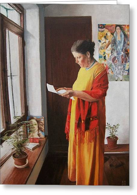 One Point Perspective Greeting Cards - Woman reading a letter Greeting Card by Kevin Hopkins