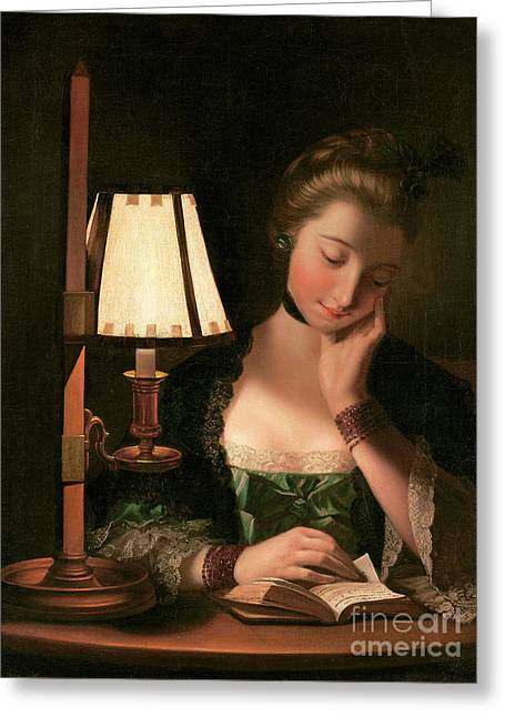 Woman Reading By A Paper Bell Shade Greeting Card by Henry Robert Morland