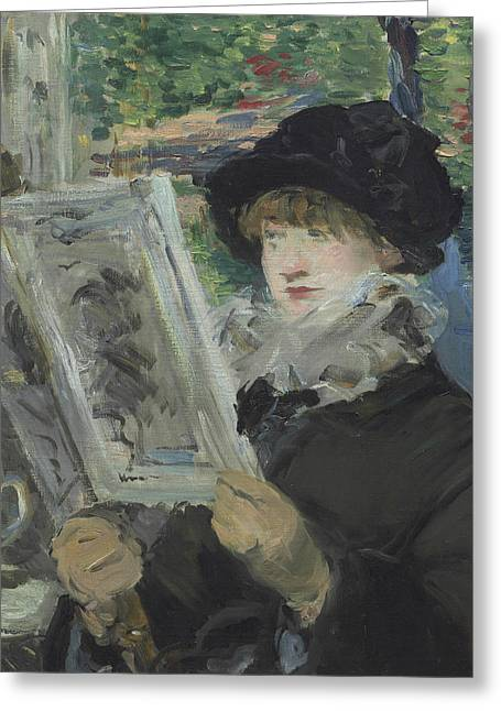 Woman Reading Greeting Card by Edouard Manet