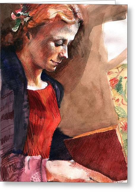 Reader Greeting Cards - Woman Reading Greeting Card by Ellen Dreibelbis