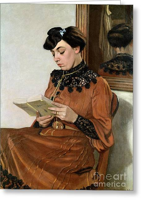 Mirror Reflection Greeting Cards - Woman Reading Greeting Card by Felix Edouard Vallotton