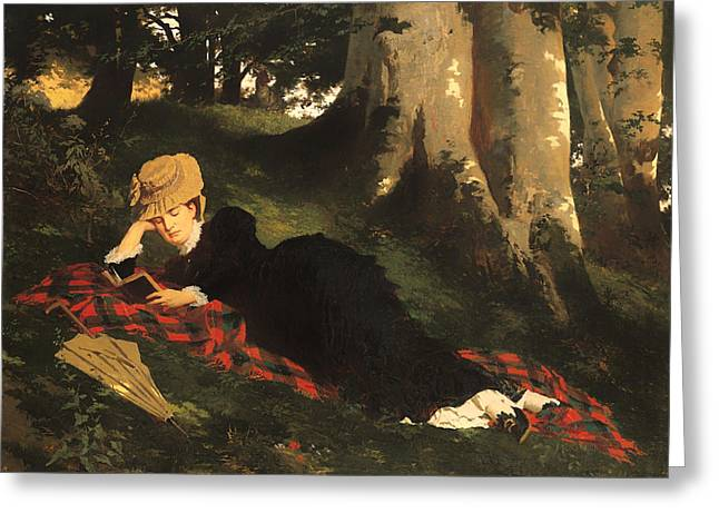 Art Book Greeting Cards - Woman Reading In A Forest Greeting Card by Gyula Benczur