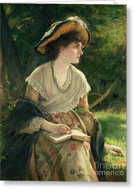 Looking Out Greeting Cards - Woman Reading Greeting Card by Robert James Gordon