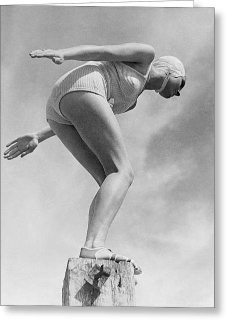 Woman Ready To Dive Greeting Card by Underwood Archives