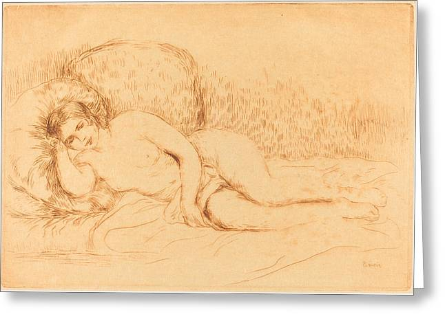 Famous ist Drawings Greeting Cards - Woman Reclining - femme Couchee Greeting Card by Auguste Renoir