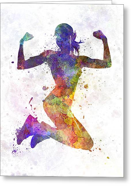Recently Sold -  - Runner Greeting Cards - Woman runner jogger jumping powerful Greeting Card by Pablo Romero