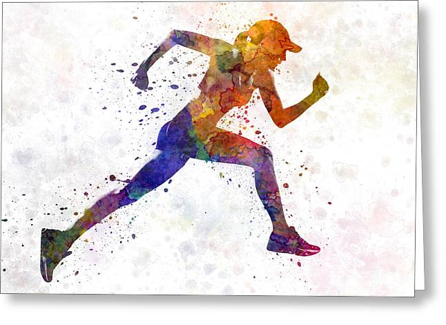 Jogging Greeting Cards - Woman runner jogger running Greeting Card by Pablo Romero
