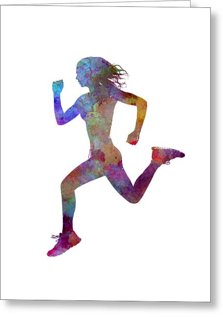 Woman Runner Running Jogger Jogging Silhouette 01 Greeting Card by Pablo Romero