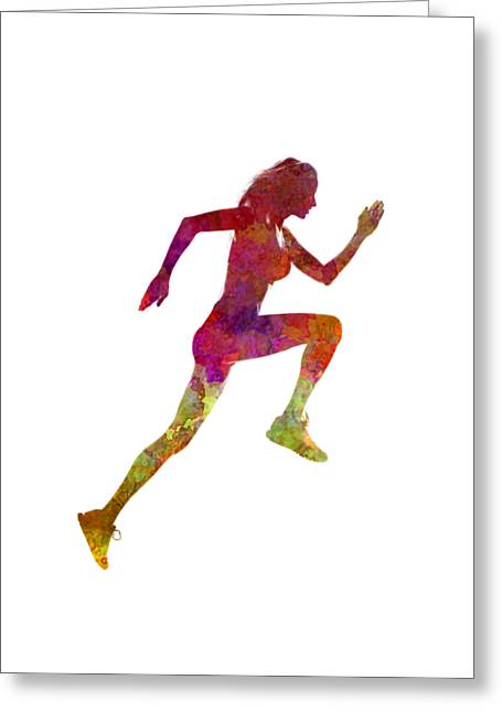 Woman Runner Running Jogger Jogging Silhouette 02 Greeting Card by Pablo Romero