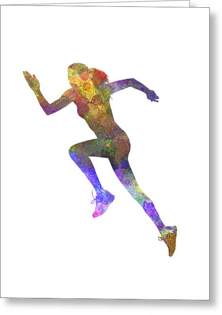 Woman Runner Running Jogger Jogging Silhouette 03 Greeting Card by Pablo Romero