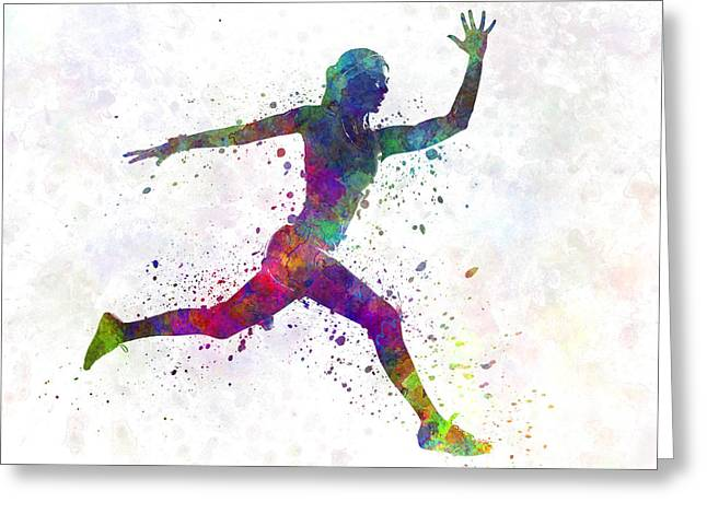 Recently Sold -  - Runner Greeting Cards - Woman runner running jumping Greeting Card by Pablo Romero