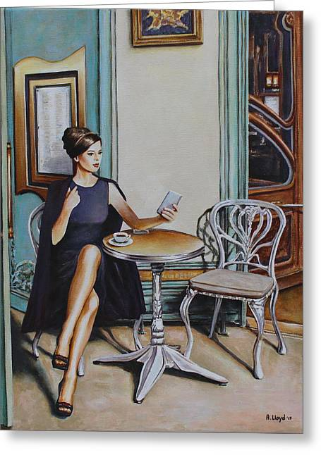 Cellphone Greeting Cards - Woman Sat at a Cafe Table 2 Greeting Card by Andy Lloyd