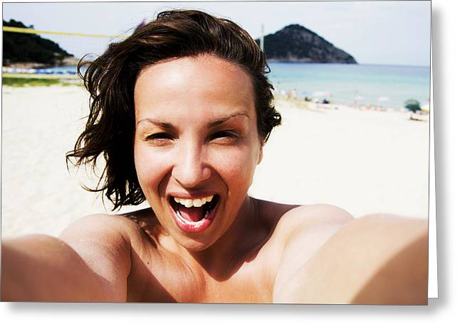 Self-portrait Photographs Greeting Cards - Woman self portrait on beach Greeting Card by Newnow Photography By Vera Cepic
