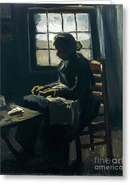 Vintage Painter Greeting Cards - Woman sewing Greeting Card by Van Gogh