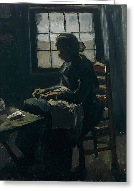 Working Women Greeting Cards - Woman sewing Greeting Card by Vincent van Gogh
