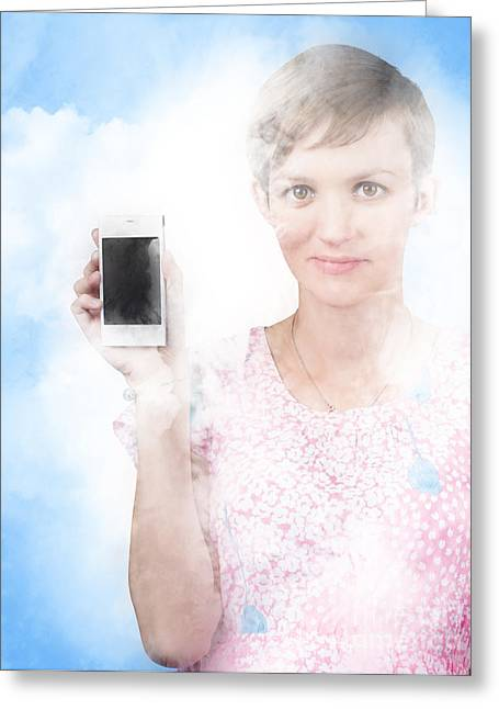 Cellphone Greeting Cards - Woman showing mobile smartphone in clouds Greeting Card by Ryan Jorgensen