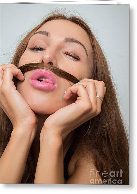 Mustache Greeting Cards - Woman Shows Mustache Greeting Card by Aleksey Tugolukov