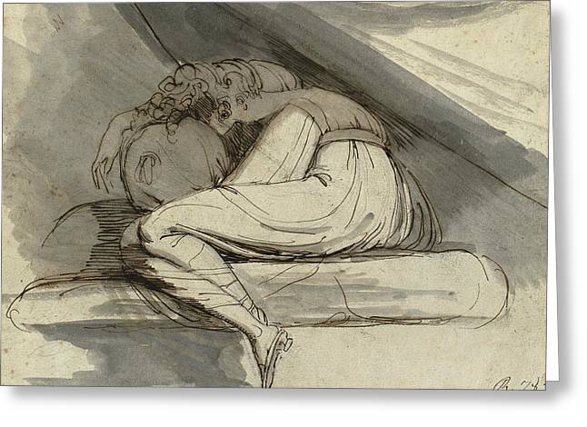 Romanticism Drawings Greeting Cards - Woman Sitting Curled Up Greeting Card by Henry Fuseli