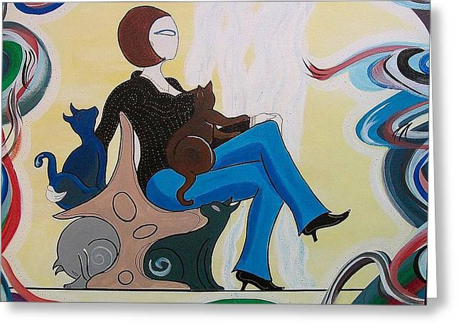 John Lyes Greeting Cards - Woman Sitting in Chair with Cats Greeting Card by John Lyes