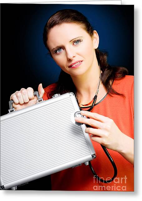 Surveying Greeting Cards - Woman smiling while conducting business review Greeting Card by Ryan Jorgensen