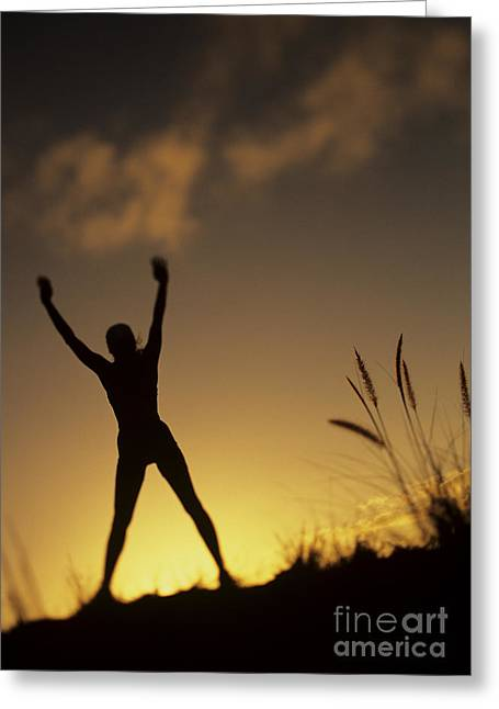 Amazing Sunset Greeting Cards - Woman stretching on a mountain Greeting Card by Dana Edmunds - Printscapes