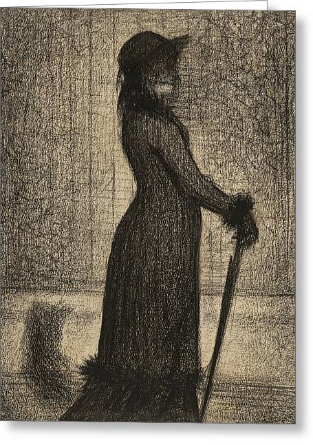 Seurat Greeting Cards - Woman Strolling Greeting Card by Georges-Pierre Seurat