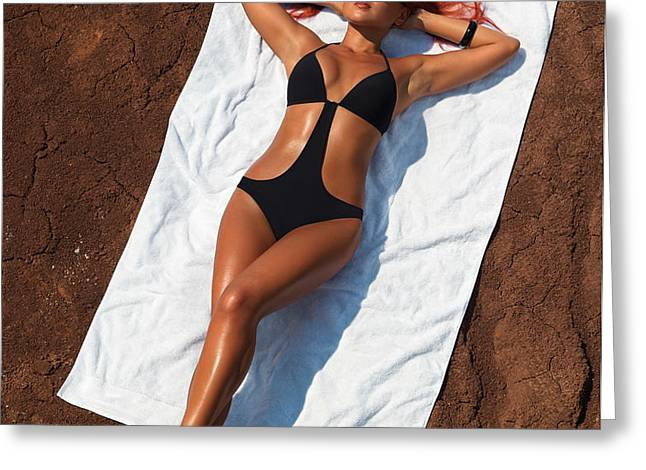 Woman Sunbathing Greeting Card by Oleksiy Maksymenko