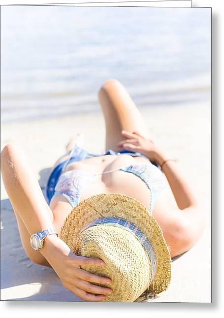 Women Only Greeting Cards - Woman sunbathing Greeting Card by Ryan Jorgensen