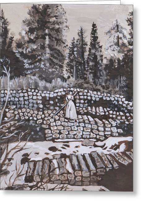 Western Tie Greeting Cards - Woman Tie Hack historical vignette from River Mural Greeting Card by Dawn Senior-Trask